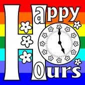 Happy hours billboard with clock face on a rainbow background — Cтоковый вектор