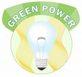 Green power circle label with bulb — Stok Vektör