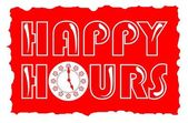 Happy hours inscription in red color with clock face  — Stock Vector