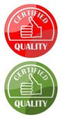 Label certified quality with thumb in two color variants — Vector de stock