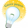 Green power circle label with bulb — Stock Vector #60435203