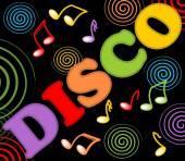 Disco billboard with colored music symbols and swirls — 图库矢量图片