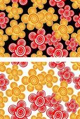 Seamless background with red and yellow flowers — Stok Vektör