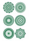 A set of green fine circle patterns — Stock Vector