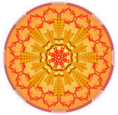 Orange mandala for energy and power obtaining — Stock Vector