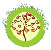 Label 100 percent nature friendly for organic products with the flowering tree — Stock Vector