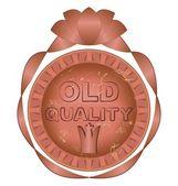 古い品質ラベル銅メタル デザイン — ストックベクタ
