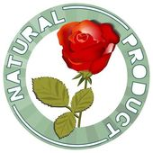 The label natural product with a symbol of a red rose — Stock Vector