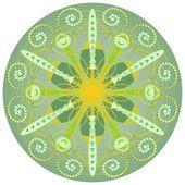 Green mandala for harmony and power obtaining — Stock Vector