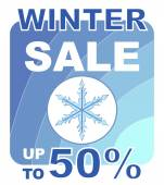Winter sale with snowflake up to 50 percent price reducing — Stock Vector