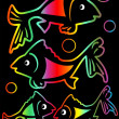 Cheerful rainbow neon fishes on black background — Stock Vector #61287397
