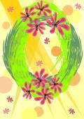 Background to welcome spring with green wreath and flowers — Stock Vector