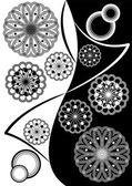 Fine black white inverse composition with geometric stars — Stock Vector