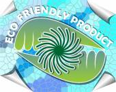 Label for eco friendly product in green and blue mosaic design — ストックベクタ