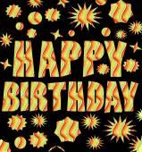 Happy birthday billboard with multicolored grunge inscription — Stock Vector