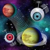 Futuristic Phantasy image Interplanetary communication network — Stock Photo