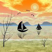在海上的春天早晨捕鱼 — 图库照片