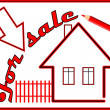 Label house for sale with red pencil — Stock Vector #63012405