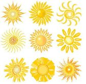 A set of cute sun image in various vector technic — Stock Vector