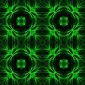 Black decorative background tile with green neon patterns — Stock Photo