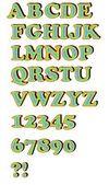 Uppercase alphabet set in rainbow colors — Stock Vector