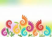 Spring cheerful background with futuristic flowers — Stock Vector