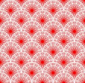 Red lace fine seamless background with overlapping circle patterns — Stock Vector