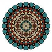 Symmetric geometric rosette in art deco style — Vetor de Stock