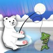 Plush polar bear sitting on the ice floe and fishing — Stock Photo #65171483