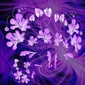 Phantasy purple composition with flower on fractal background — Stock fotografie