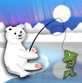 Plush polar bear sitting on the ice floe and fishing — Stock Photo