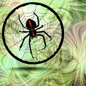 Phantasy image Crusader spider in his cobweb on fractal background — Stock Photo