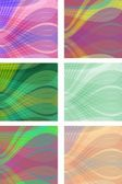 A set of modern wave background tiles in different color variants — Stock Vector
