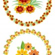 Flower wreath and motifs for your spring and summer design, cheerful colors — Stock Vector #65728069