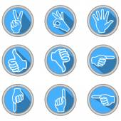 A set of icons with hand gestures in modern flat design with long shadow — Stock Vector