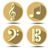 A set of music symbol in circle with long shadow. Treble clef, bass clef, music note — Wektor stockowy