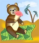 Teddy bear eating ice cream on green blanket — Stock Vector