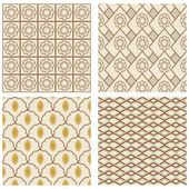 A set of vintage art deco square frames in nostalgic colors with simple geometric patterns — Stock Vector