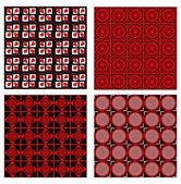 Set of four background tiles in red, white and black design with fine geometric symmetric patterns — Stock Vector