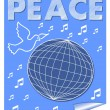 Peace vector banner with dove flying over the globe and music symbols. White drawing on blue background. — Stock Vector #67436283