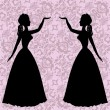 Mirror silhouettes dancing women on ornamental background in rococo style — Stock Vector #69659607