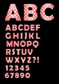 Alphabet in checked design, uppercase and lowercase letters in black and white design, numbers, question and exclamation mark — Cтоковый вектор