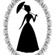 Vintage retro drawing with silhouette of rococo lady with umbrella in fine oval lace frame. Decoration for ball invitation — Stock Vector #70677593