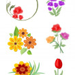 Set of vector beautiful small floral ornaments nad motifs in cheerful colors. Suitable for leaflet, invitation and flyer design. — Stock Vector #70677649