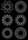 Set of circle calligraphic lace decorative patterns. — Stockvektor