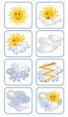 Vector set of weather forecast icons for all weather types. Sun has an expression on his face — Stock Vector