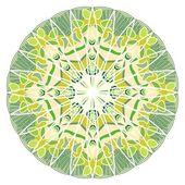 Green mandala for energy and power obtaining, mandala for meditation training — Stock Vector