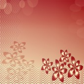 Floral motif with circles on red and beige gradient area — Stock Photo
