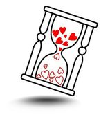 Vektor designelement - timglas med hjärtan och skugga — Stockvektor