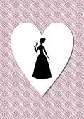 Vintage art deco background with a woman silhouette in heart shape — Stock Vector